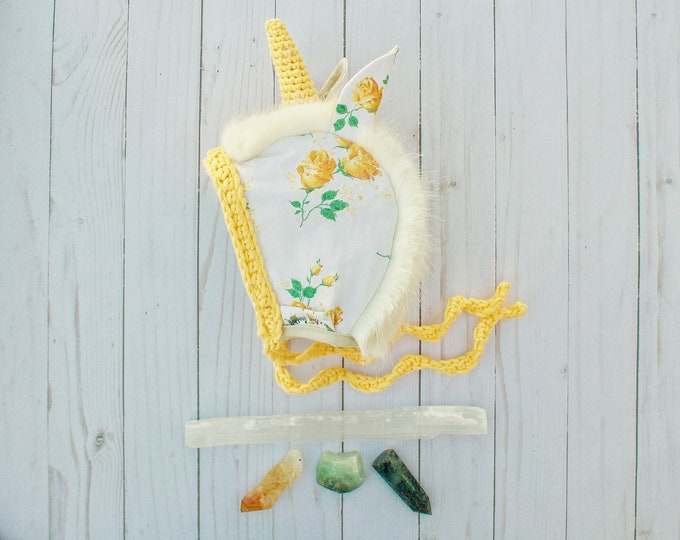 Yellow Floral Unicorn Bonnet - 6-12 Month