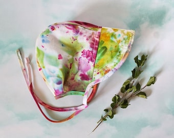 Hand Dyed Rainbow Summer Bonnet