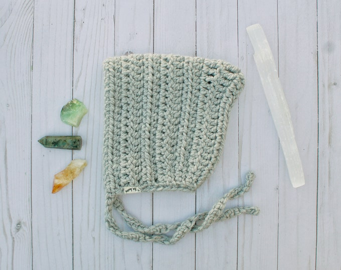 Gray Crochet Pixie Bonnet - 1-2 Year