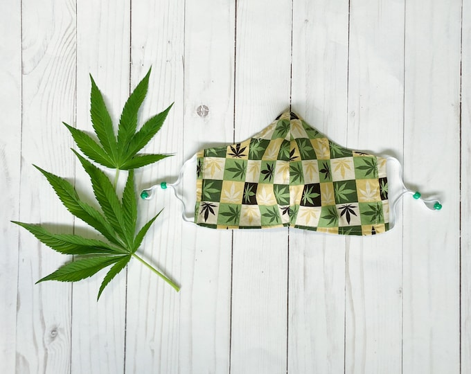 Cannabis Squares Non-Medical Face Mask - Adult Large