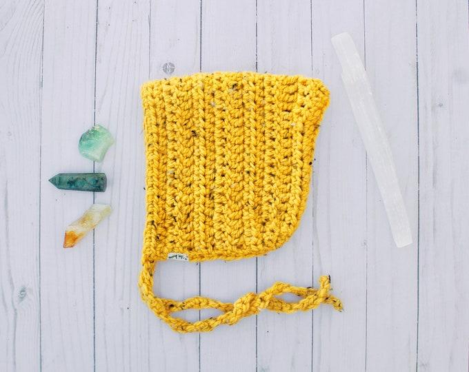 Mustard Crochet Pixie Bonnet - 2T/4T