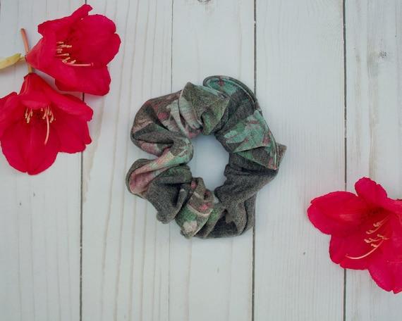 Heather Grey Floral Scrunchie