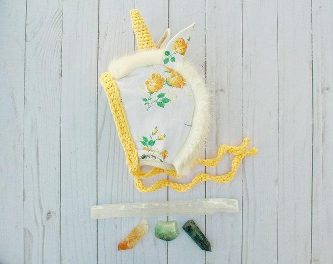 Yellow Floral Unicorn Bonnet - 6-12 Month