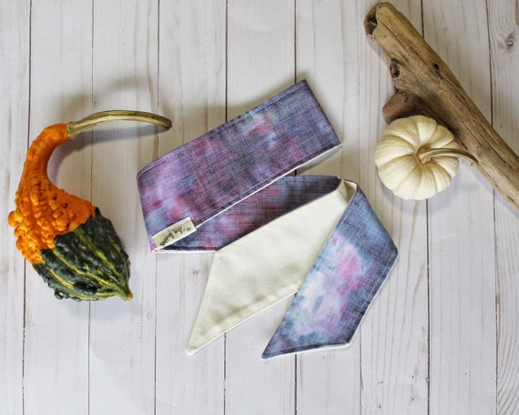 """Hand-Dyed Lavender Blues Headwrap - Adult """"Narrow"""""""