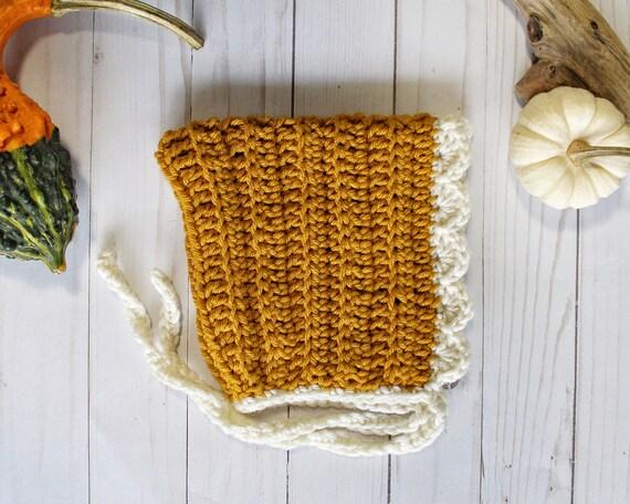 Crochet Mustard Pixie Bonnet - Ready to Ship 6-12 month