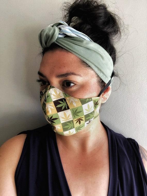 Cannabis Print Handmade Washable Non-Medical Face Masks