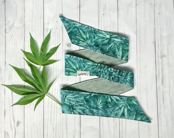 Water-Colour Cannabis Elastic Back Headwrap