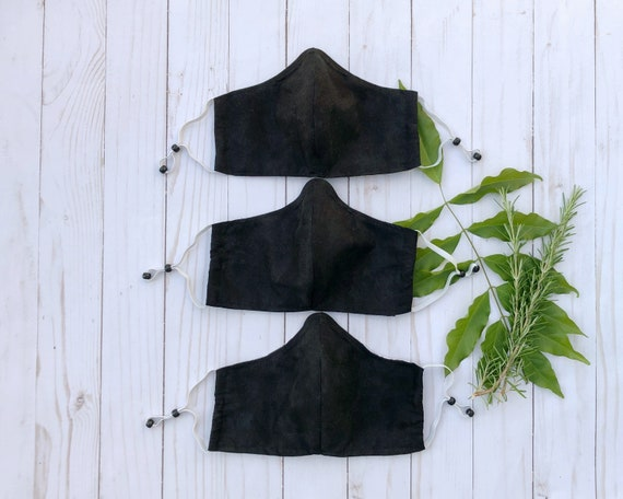 Textured Black Non-Medical Face Masks - Multiple Sizes