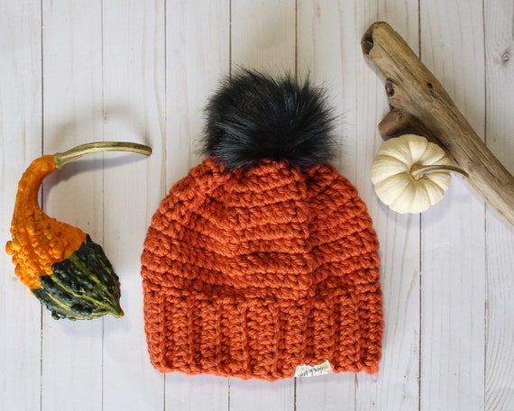 Chunky Toque with Faux-Fur Pom - Pumpkin - Ready to Ship