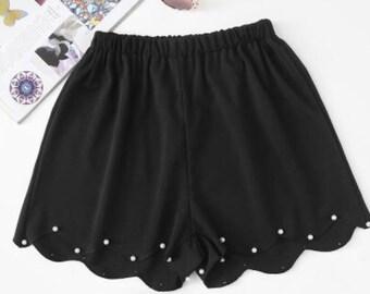 Scallop Hem Pearl Beaded Shorts