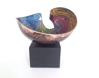 Vitreous enamel and copper small scale abstract sculpture, handmade and unique. Gift, artist Joanne Horrobin