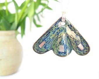 Navy,yellow,green, silver enamel pendant, Copper pendant. Sterling Silver necklace, handmade Jewellery