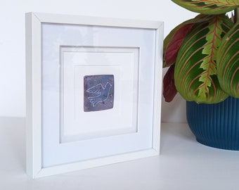 Framed, Original Vitreous Enamel plaque. Purple/White Dove. Hotfused Enamels. Unique gift
