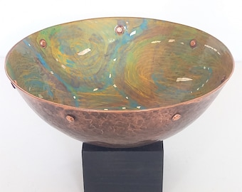 Copper and vitreous enamel decorative bowl with copper rivet and silver foil detail. Gift. Collectable .Art. Handmade