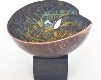 Vitreous enamel and copper sculptural form, collectable, handmade and unique. Tortoise shell design. Joanne Horrobin