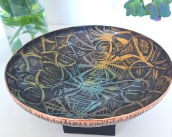 Vitreous enamel and copper decorative shallow bowl, tortoise shell design. collectable, handmade and unique. Gift, Joanne Horrobin