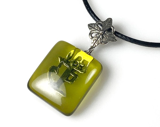 Sterling silver jewelry Green amber pendant necklace Black cord necklac Natural Colombian copal Healing crystal. October Birthstone