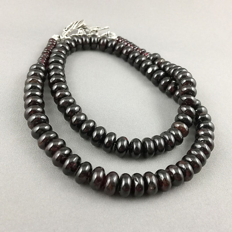 Natural garnet and sterling silver necklace