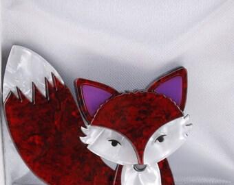 Fox resin brooch - Red