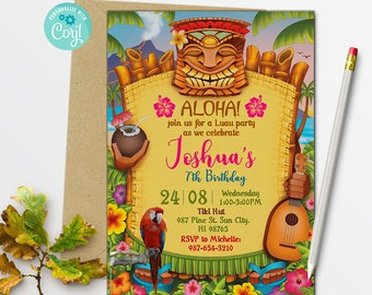 Luau Birthday Party Invitation Hawaii Boy Girl Cute Hawaiian Invite