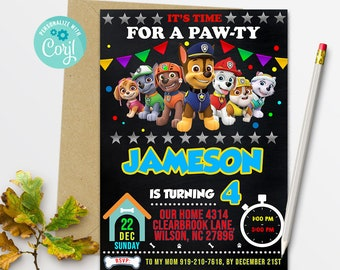 Paw Patrol Invitation Birthday Party Instant Download