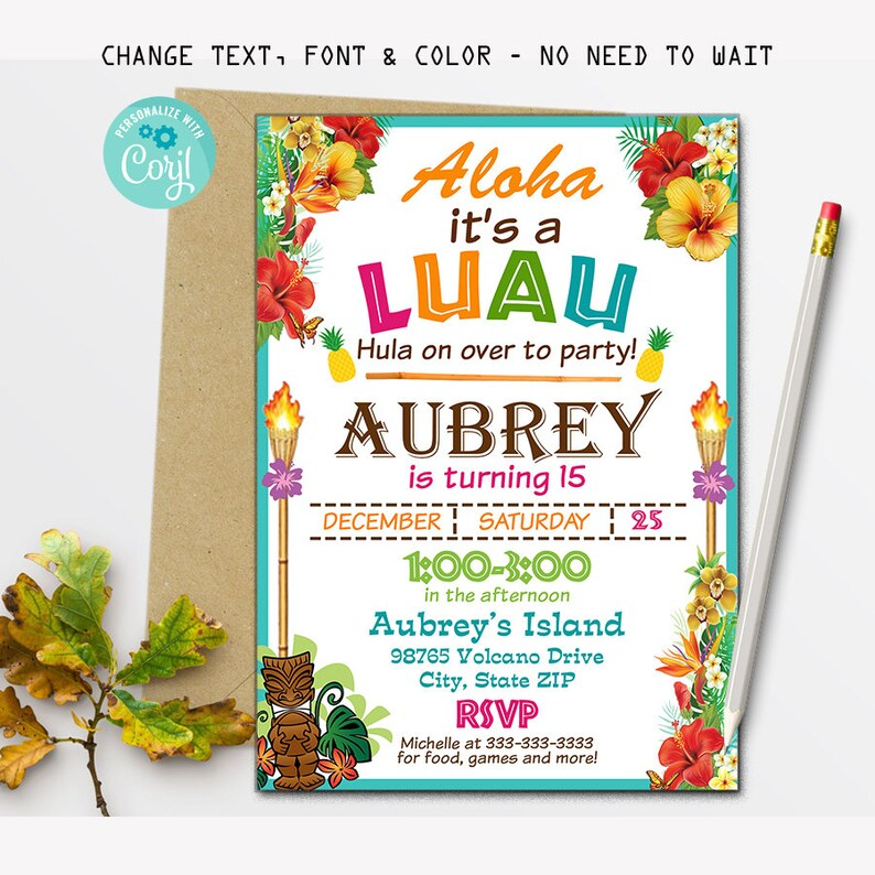 Luau Birthday Party Invitation Hawaii