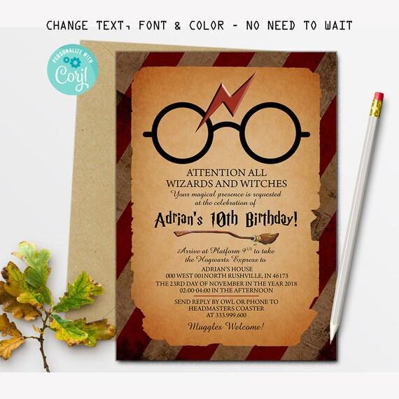 Harry Potter Einladung Harry Potter Einladen Magische Etsy