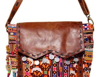 e20cacd994 Handmade Gypsy Banjara Crunch Leather Shoulder Bag