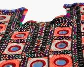 Indian Vintage Handmade Neck Yoke Thread With Mirror Embroidery Work Applique Patch Sewing craft,cotton Vintage Banjara neck yoke.