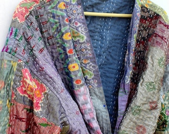 Beautiful bohemian cardigan robe made from vintage silk kantha blankets-hand stitched with cotton lining, pockets and belt-boho kimono-boho