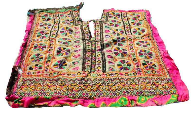 banjara patch yoke afghani dress yoke Traditional Art Embroidery Indian Vintage Kutch Embroidered Mirror work Yoke  Neck Patches Boho Hippie