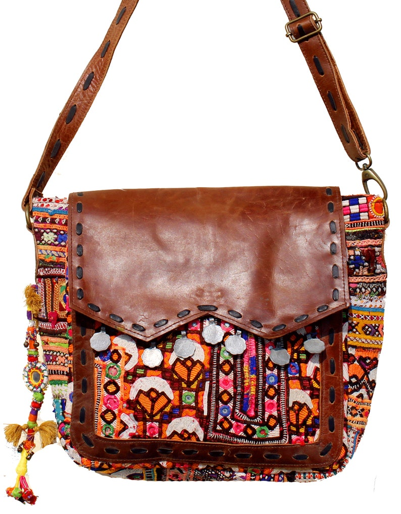 e6046ff07d Handmade Gypsy Banjara Crunch Leather Shoulder BagLeather
