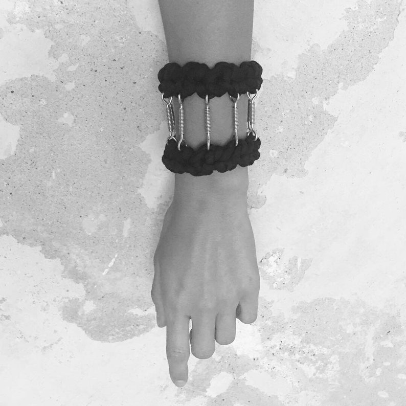 Handmade crochet black statement bracelet combined with metals urban style