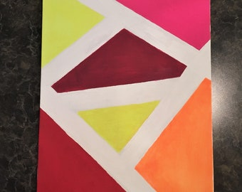 Red Straight Line Abstract Art