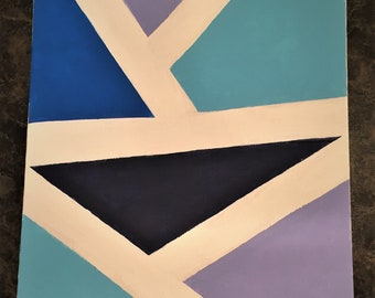 Blue Straight Line Abstract Art