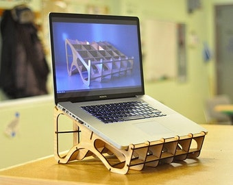 Laser cut vector plan cdr dxf - Laptop Stand laptop table Macbook Stand Laptop  Air Desk Lap Desk Macbook table fathers day gift