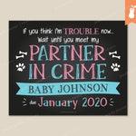 PRINTABLE | Partner in Crime Pregnancy Reveal Announcement Sign Poster Chalkboard Baby Footprints Pet Paw Print Bones | 8x10 11x14 | Custom