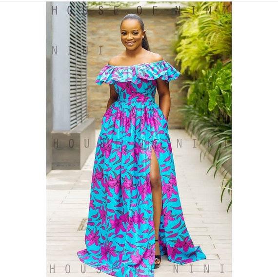 African clothing for womenAnkara DressAfrican Maxi DressOff-Shoulder Dress African Dress Summer Dress  African Print Maxi Gown