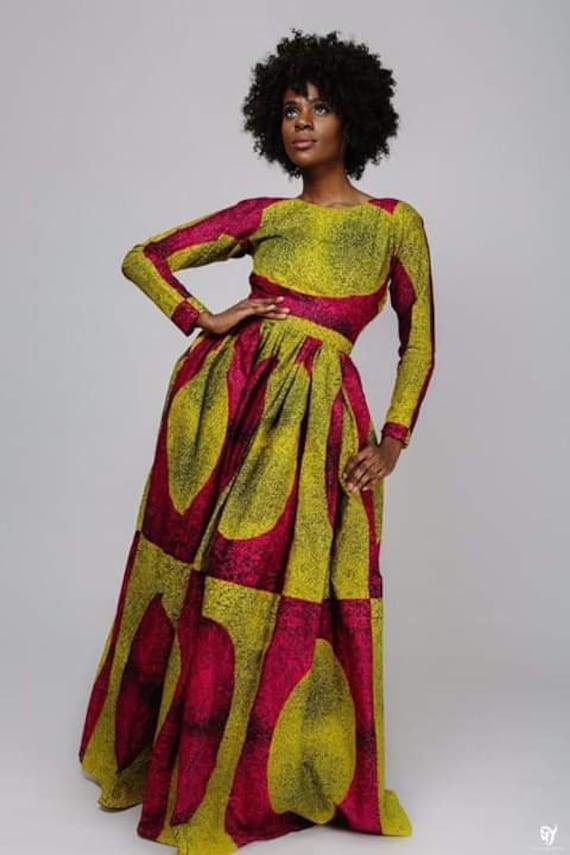 Kente maxi dressAfrican American dressstrap sleeves African dress African party dress African ball dress  prom dress  wedding dress