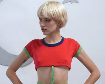 Vintage Color-Block Drawstring Crop Top