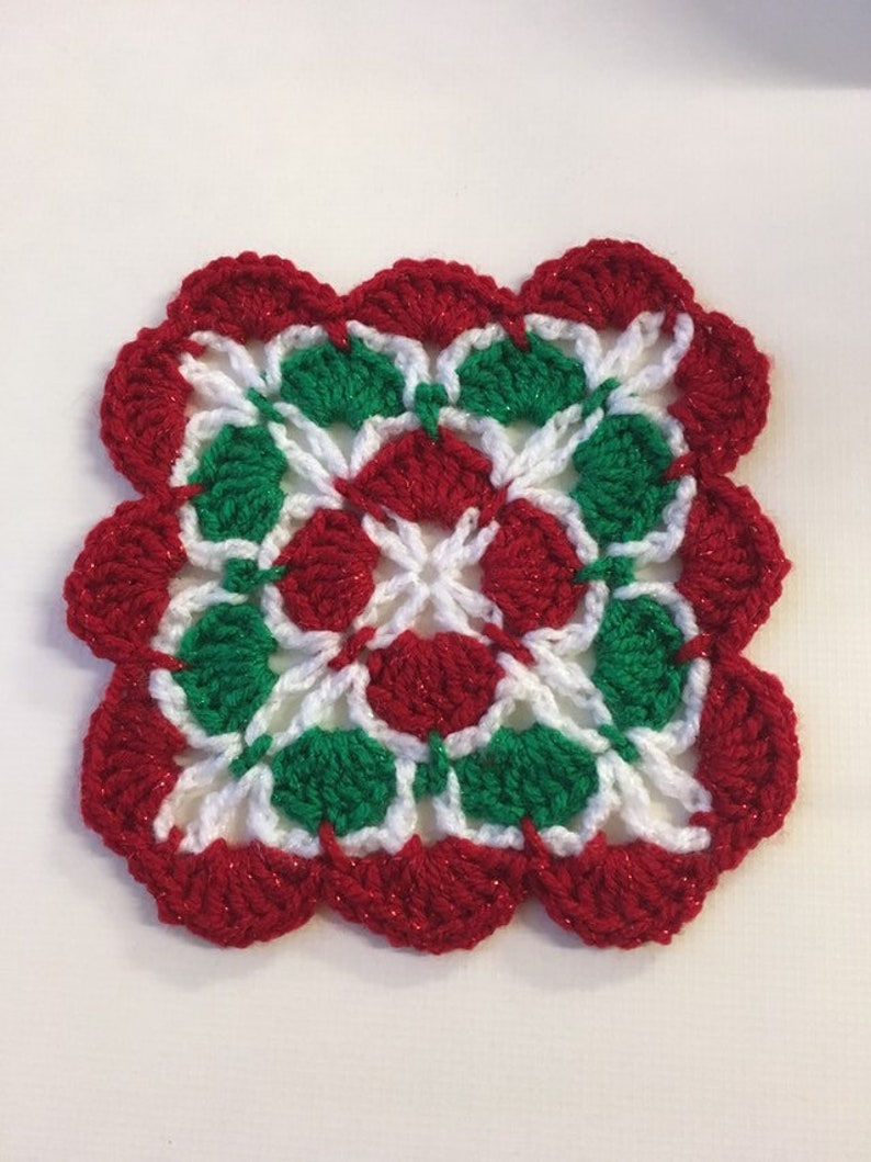 Crochet Christmas Coasters Set 4 Etsy