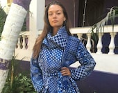 New Indigo Cotton Quilted Gudri Kantha Jacket Coat Fashion Vintage Belted