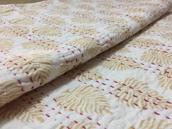 Hand Block Kantha Quilt Cotton Bedspread Floral Print Bedding Queen Size Blanket