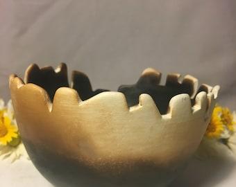 "Handmade Lowfire ""Kronky"" Gradient Charred Small Ceramic Sculpture"