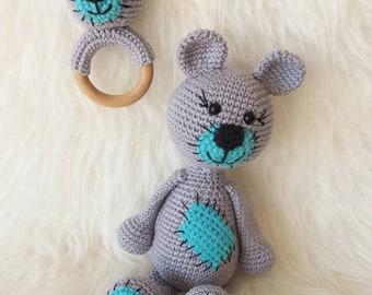 beige Teddys blaumelierte  Mütze und Schal Teddy Bär oder Puppe  handgestrickt