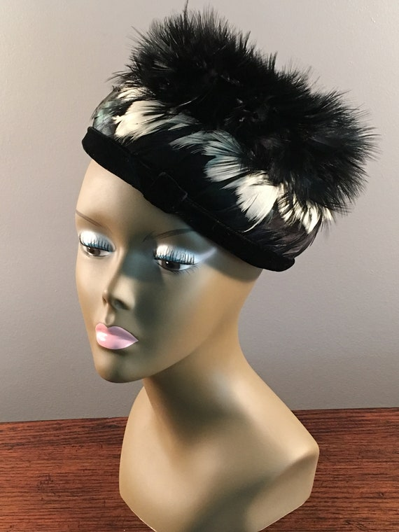 Vintage Feather Pill Box Hat 1950s, Christine Park