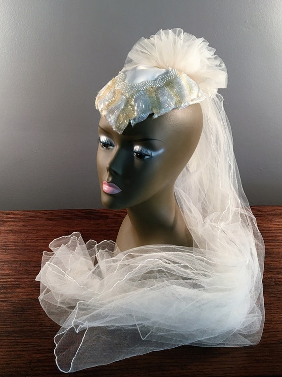 80s Sequin Beaded Wedding Veil Juliet Cap, Fascina
