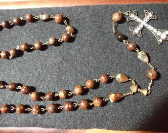 Semi precious rosary style necklace