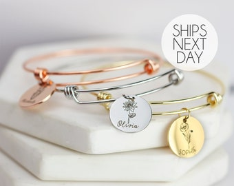 Christmas Gift Birth Flower Bangle Bracelet Personalized Gifts for Mom Personalized Jewelry October Birthday Grandma Gift For Her- ABR-LCFL