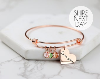 Heart Birthstone Bracelet Personalized Gift for Her Family Birthstone Jewelry Christmas Gift for Her November Birthstone - ABR-LH-BS
